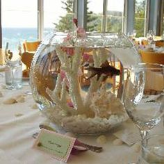 Centrepiece Hire - Centrepiece Rent Goldfish In Fish Bowl Beach Event Melbourne . [ Centrepiece Hire - Centrepiece Rent Goldfish In Fish Bowl Beach Event Melbourne Hire. Beach Wedding Centerpieces, Table Centerpieces, Wedding Favors, Our Wedding, Wedding Decorations, Centrepieces, Wedding Ideas, Spring Wedding, Wedding Table