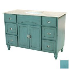 Yosemite Home Decor 48-in Blue Traditional Single Sink Bathroom Vanity with Top