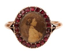 Georgian Garnet Locket Ring - Bell and Bird 1,750