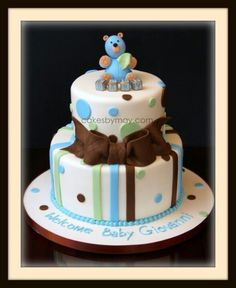 Baby boy shower cake.