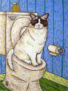 CAT art PRINT abstract folk pop ART JSCHMETZ 8x10 apple yellow green