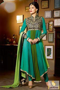 Pavitraa Turquoise with Olive Anarkali Bridal Salwar Kameez Rs 4646.7 #anarkalisalwarsuit #bridalsalwarsuits