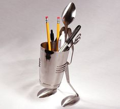Pencil Shaker Stand  Spoon by ForkedUpArt on Etsy, $27.49