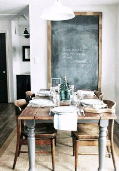 Reclaimed wooden planks used to create a lovely rustic dining table.