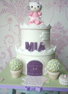 Hello Kitty birthday castle cake