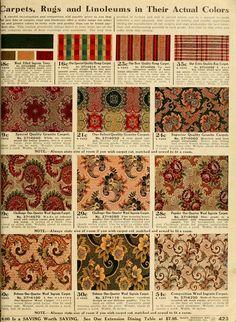 Sears catalogue carpet and linoleum Folk Victorian, Edwardian House, 1900s House, Victorian Decor, Vintage Floral, Vintage Decor, Vintage Antiques, Vintage Ads, Vintage Images