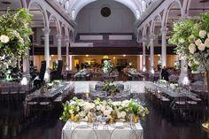 The Redbird | Vibiana Main Hall filled with monochromatic cool tones & metallic touches. (Venue: @redbirdla | @vibianaevents / Photo: @dukeimages / Planner: @christine_fancy / Floral: @tictockflorals / Rentals: @whitenightdesign @rentalavenue @latavolalinen @luxe_linen)