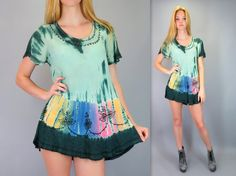 Vintage 90s Tie Dye Green Blue Pink Hippie India Ethnic Boho Embroidered Festival Short Mini Dress Gypsy Short Sleeve Rayon Trapeze Tent Dress Tunic Top by BlueFridayVintage