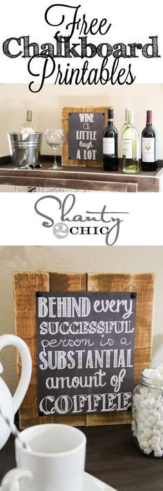 FREE printable chalkboard signs - kitchen wall art