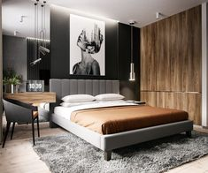 Trendy bedroom interior design modern black and white ideas Modern Bedroom Design, Master Bedroom Design, Home Decor Bedroom, Bedroom Wall, Bedroom Ideas, Bedroom Black, Bedroom Designs, Bed Room, Bedroom Interiors