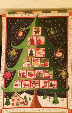 Quilted Fabric Advent Calendar - Christmas Tree by softtreasures on Etsy