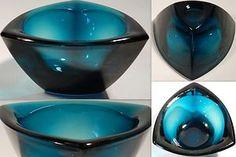 1956 Nuutajärvi Kaj Franck Häränsilmä Teal Bullseye Tricorn Bowl Decorative Bowls, Scandinavian, Crystals, Tableware, Glass, Ebay, Design, Dinnerware, Drinkware