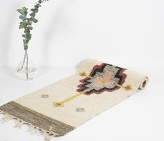 Vintage Flat Weave Wool Rug Mid Century Modern Carpet Kilim Boho Home Decor Runner Wall Hanging Polish Weaving Tapestry Southwestern Style