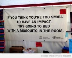 If you think you're too small to have an impact; try going to bed with a mosquito in the room