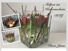 Windlichtgläser mit Naturmaterialien und Tulpen | einfach und schnell | Just Deko - YouTube