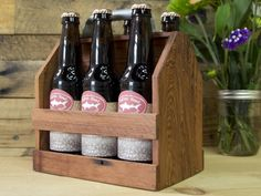 Wooden 6 Pack Holder from Wood Thumb, The Grommet