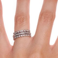 Luxe Antique Eternity Diamond Ring Stack (1 ct. tw.) in 18K White Gold