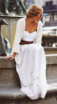 so pretty. love this white dress with belt and thin white sweater. beautiful spring/summer look