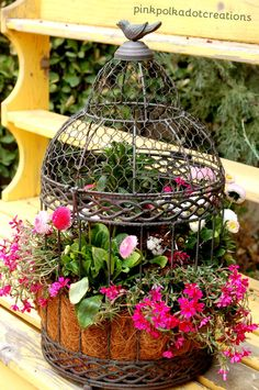 How to Plant a Birdcage - so pretty! From ishouldbemoppingthefloor.com.