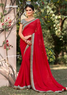 Explore the Red Stone Work and Black, White Pashmina Blouse along with Fancy Lace Border for your special Catalogue-KHUSHRANG, Price - ₹ Laxmipati Sarees, Georgette Sarees, Indian Sarees, Red Saree, Sari, Buy Sarees Online, Indian Outfits, Indian Clothes, Printed Sarees