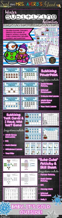Are you a kindergarten or first grade teacher seeking some engaging subtilizing activities to help your students master their math standards?  Click to discover the ease of incorporating these winter themed activities into your math lesson plans!  Perfect for your whole group lessons, RTI, math center activities, and so much more!