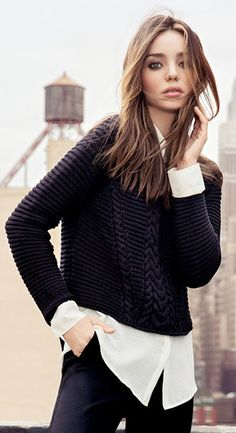 love the cropped sweater with white (chiffon) shirt under. great play of texture (light with heavy) from Mango 2013