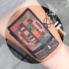 TV test pattern #crossstitch #tattoo #geometrictattoo #nosignal #tvsignal #retrotv