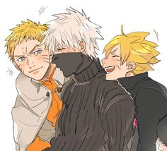 I get the feeling Kakashi is telling embarrassing stories about Naruto