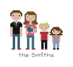 Custom Family Portrait Cross Stitch Pattern - Digital File, PDF file, PATTERN ONLY - X Stitch Pattern, Family Portrait Pattern