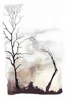 Pablo S. Herrero: Tinta china y barro blanco Landscape Artwork, Watercolor Landscape, Abstract Watercolor, Abstract Wall Art, Watercolor Illustration, Abstract Landscape, Watercolor Painting Techniques, Watercolor Paintings, Watercolours