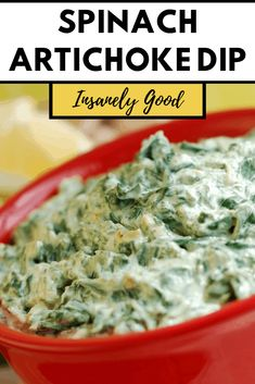 This quick and easy Spinach artichoke dip is packed with mouth-watering cheese, creamy spinach, artichoke hearts, and loads of delicious bacon. Spinach Artichoke Dip, Creamy Spinach, Artichoke Hearts, Spinach Dip, Healthy Vegetable Recipes, Healthy Dinner Recipes, Vegetarian Recipes, Yummy Appetizers, Appetizer Recipes