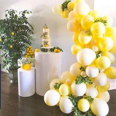Baby Shower Yellow, Baby Boy Shower, Balloon Arch, Balloon Garland, Baby Shower Themes, Baby Shower Decorations, Shower Ideas, Sunflower Baby Showers, Lemon Party