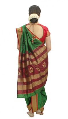 best green designer nauvari saree