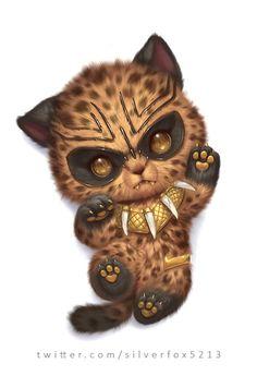 Black panther Disney World Tchalla Erik Killmonger Cute Animal Drawings, Kawaii Drawings, Disney Drawings, Cute Drawings, Drawing Animals, Scary Cat, Anime Animals, Cute Little Animals, Cute Creatures