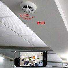 WiFi 1080p spy IP camera nanny cam smoke detector HD-90 motion detection DVR new #smokedetector