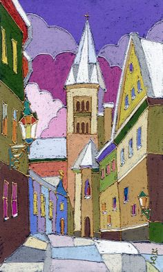 Prague Old Street Jilska Winter Painting - Prague Old Street Jilska Winter Fine Art Print