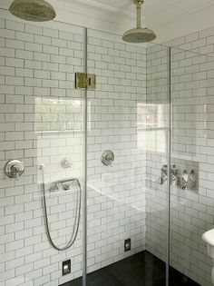 subway tile shower with dark grout