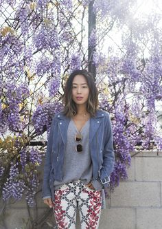 Blue Suede and Patterned Pants | Song of Style