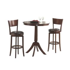 The Archer, available in a brown finish, includes two 360-degree swivel barstools with a dark brown faux leather seat, a transitional arched back design and simple, tapered and slightly flared legs and a complementary bistro table.