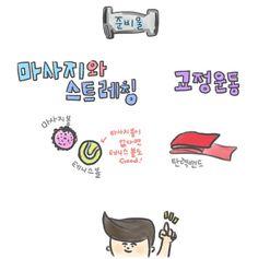 굽은어깨(라운드숄더) 고치는 그림일기 Health Diet, Health Fitness, Mbti, Taekwondo, Exercise, Yoga, Workout, Comics, Life