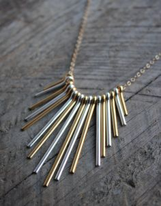 Gold and Silver Fringe Bib Necklace by JESDesignStudio on Etsy