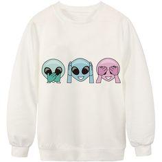 Chicnova Fashion Three Alien Printed White Sweatshirt ($9.30) ❤ liked on Polyvore featuring tops, hoodies, sweatshirts, crewneck sweatshirt, patterned sweatshirts, white sweatshirt, white top and print tops