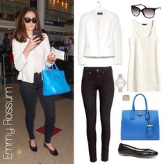 Emmy Rossum's bright blue bag, white jacket, and skinny jeans