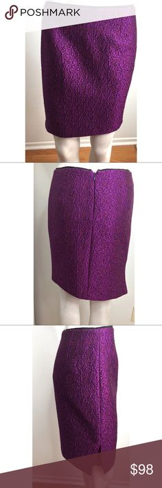 🎬 Elie Tahari Bright Purple/ Fuschia Skirt Gorgeous vibrant bright purple/ Fuchsia colored skirt by Elie Tahari. Was used in the TV show Liv & Maddie and hasn't been used since. Looks even prettier in person! Wool & silk blend. Slight asymmetrical hem with side Slit. #9021728 Elie Tahari Skirts
