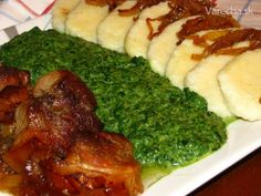 Moravský vrabec so špenátom a zemiakovými knedlami (fotorecept)