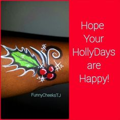Holiday Holly face painting. Dallas Face Painter