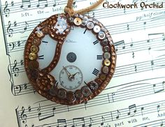 "Steampunk Necklace in Polymer Clay ""Copper Wonderment"" by 0ClockworkOrchid0 on Etsy"