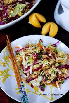 Oriental Cole Slaw - This quick and easy cole slaw is fast, fresh, crunchy, and totally addictive!  Perfect for you pot luck gatherings!  Step-by-step photos.