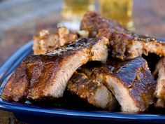 Who Loves Ya Baby-Back? recipe from Alton Brown via Food Network. Hands down the best ribs of ever. Rib Recipes, Great Recipes, Cooking Recipes, Favorite Recipes, Smoker Recipes, Bbq Ribs, Pork Ribs, Oven Ribs, Bbq Pork