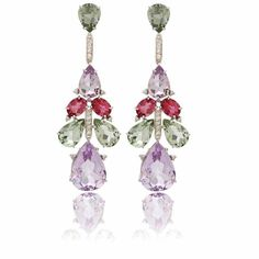 Favos earrings in 18K gold, coloured gemstones, and diamonds by Vianna